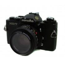 Minolta XD 7 Film Camera Black Body SLR with Minolta MC 50mm f2 Rokkor Lens