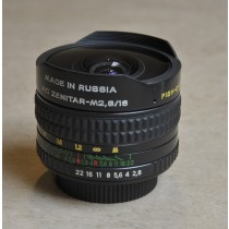 Zenitar 16mm f2.8 fisheye lens M42 fit